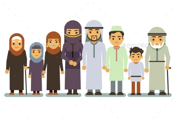 Arab Happy Smiling Family Characters