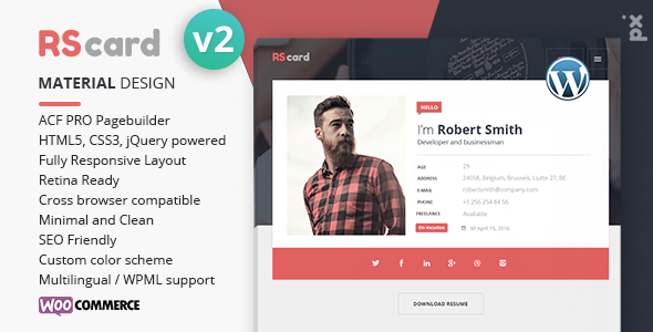 Resume, CV & vCard Theme Download