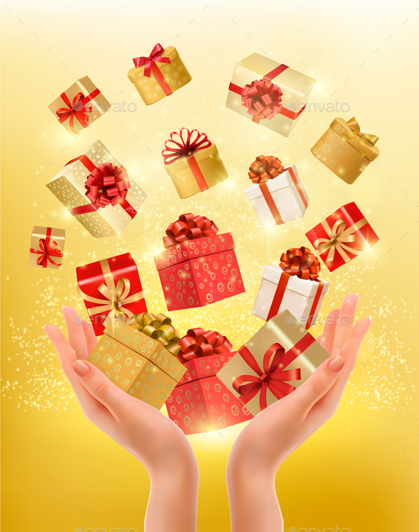 Holiday Background with Hands Holding Gift Boxes