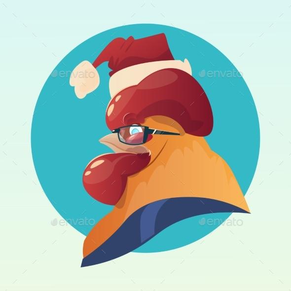 Cartoon Rooster Wear Santa Hat Happy New 2017 Year