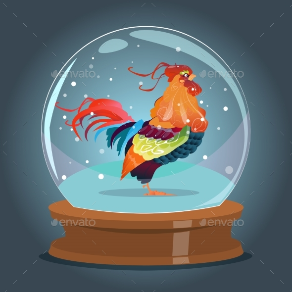 Cartoon Rooster Inside Glass Ball Happy New Year