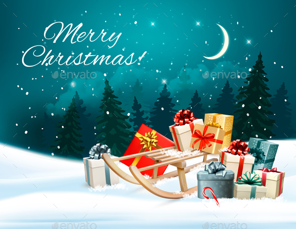 Christmas Background with Presents on a Sleigh
