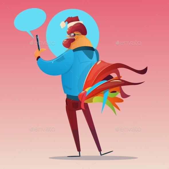 Cartoon Rooster Hipster Usinng Cell Smart Phone