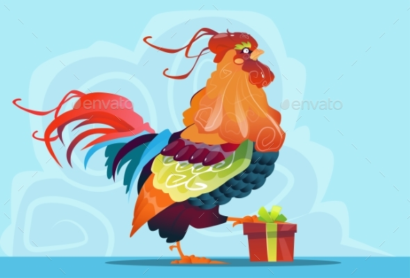 Cartoon Rooster With Present Box Happy New Year