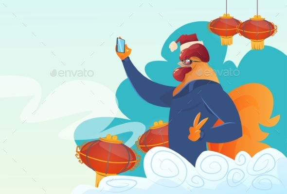 Cartoon Rooster Hipster Making Selfie Photo
