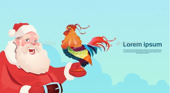 Happy New 2017 Year Rooster With Santa Clause