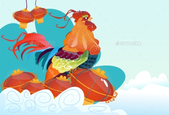 Happy New 2017 Year Rooster Bird Chinese Lantern
