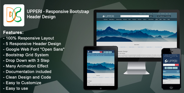 Upperi - Responsive Bootstrap Header Design