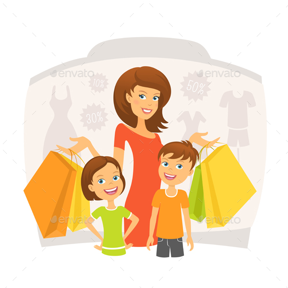 Woman with Children Shopping