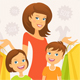 Woman with Children Shopping - GraphicRiver Item for Sale