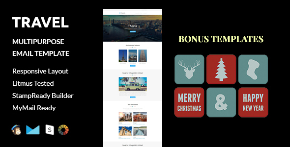 Travel + Christmas and  New Year Bonus Templates with Stampready Builder access