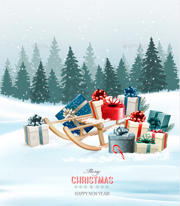 Christmas Background with Presents on a Sleigh Vector