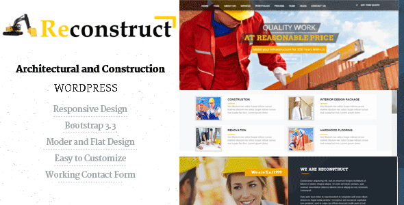 Reconstruct- Construction and Builder WP Theme Free Download