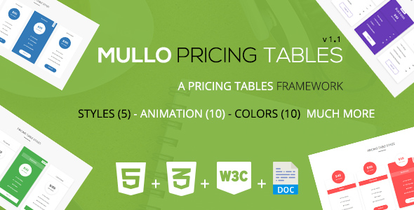 Mullo - A Responsive Pricing Tables Framework | v1.1