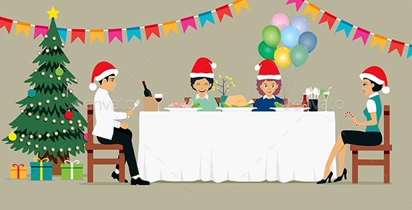 The Family Celebrating Christmas