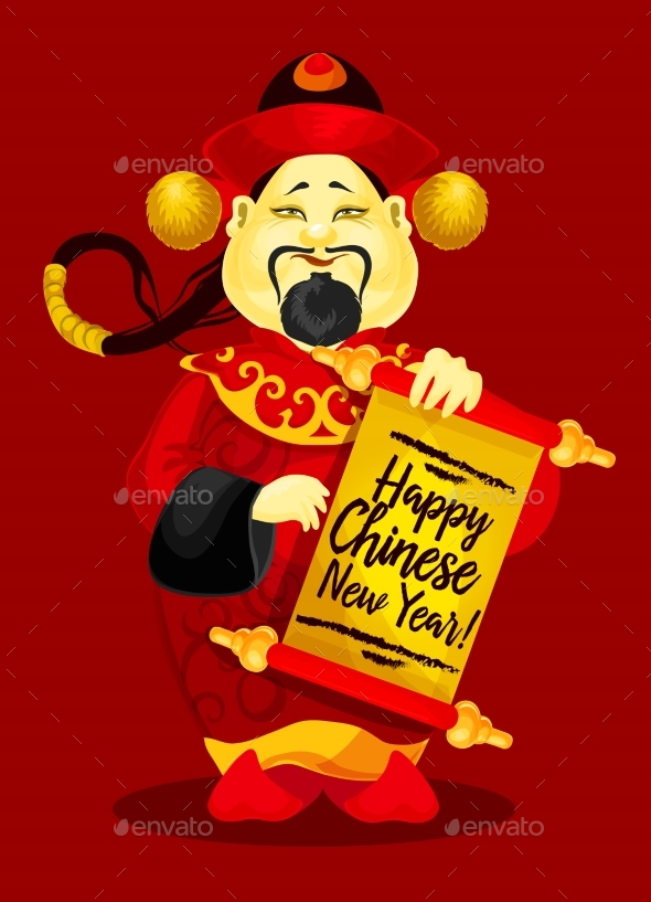 Chinese New Year Greeting Card with God of Wealth