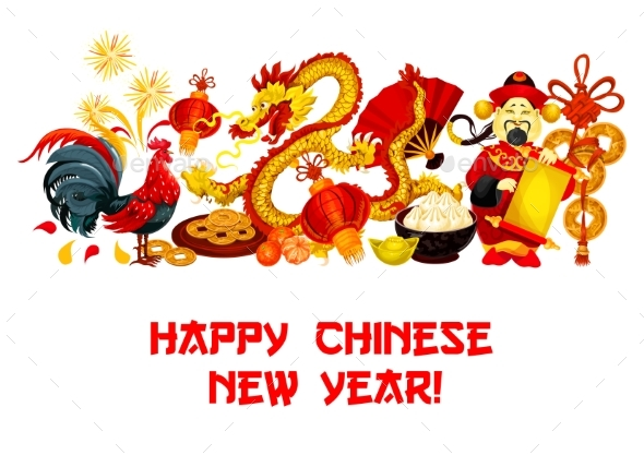 Chinese New Year Holidays Greeting Card Design