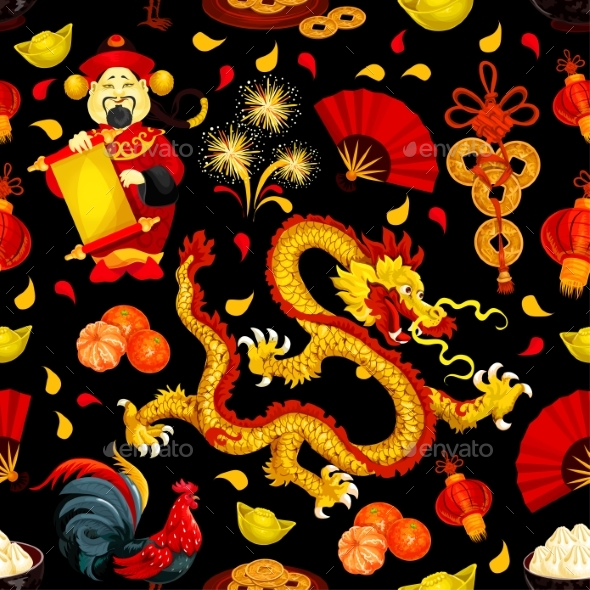 Chinese New Year, Spring Festival Seamless Pattern