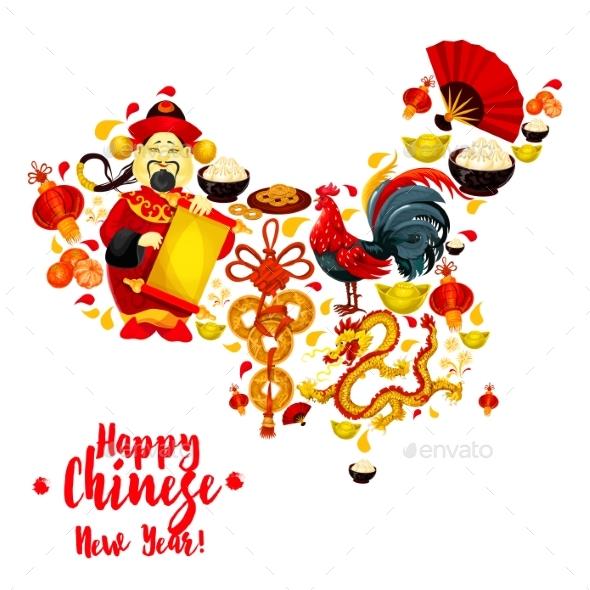 Map of China Made Up of Chinese New Year Symbols