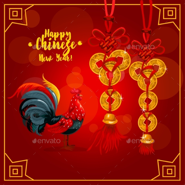 Chinese New Year Greeting Card with Rooster, Coins