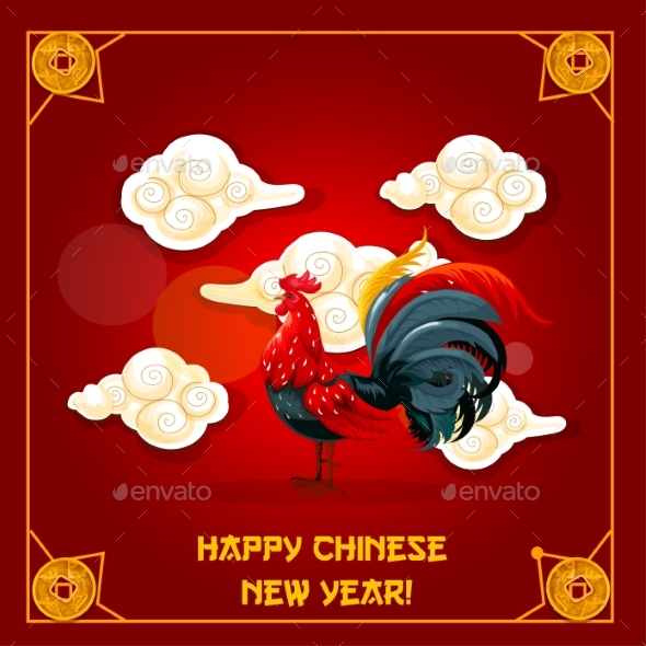 Chinese New Year of Rooster Greeting Card Design