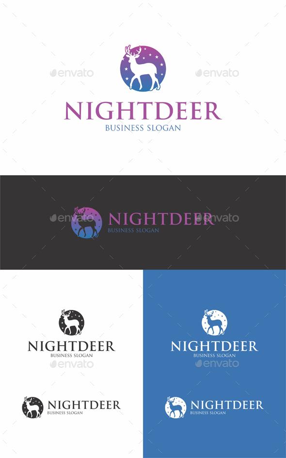 Night Deer Logo Template