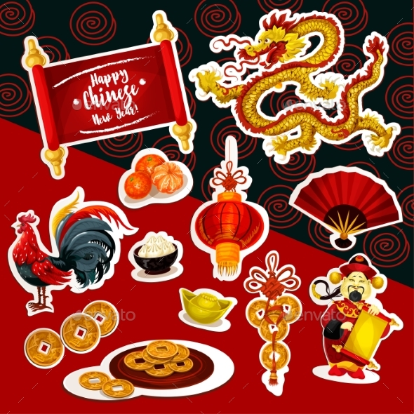 Chinese New Year Sticker Set with Holiday Symbols