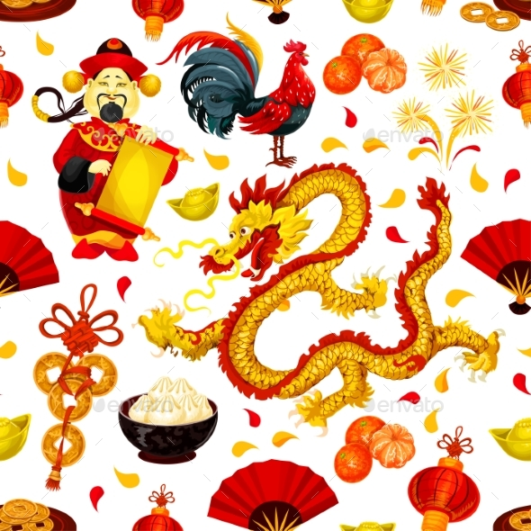 Chinese New Year of Rooster Seamless Pattern