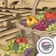 Vegetables Basket In Woodcut Style - GraphicRiver Item for Sale