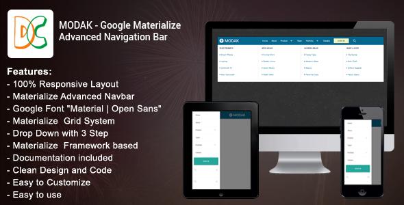 Modak - Materialize Advanced Navbar
