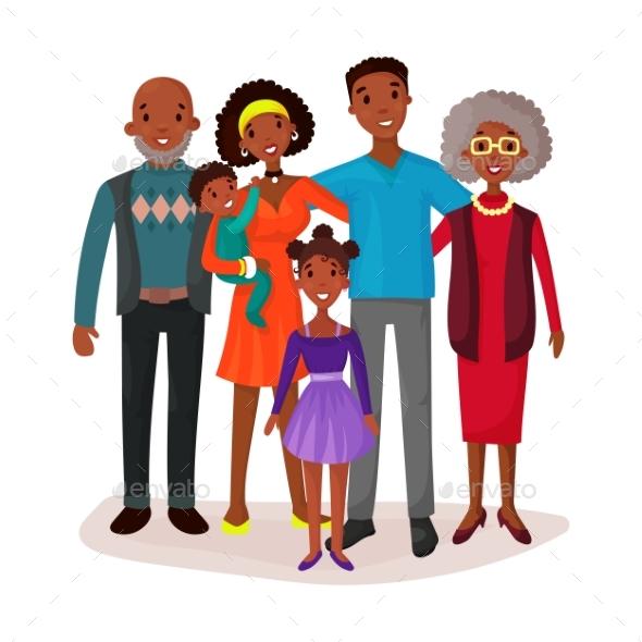 Happy and Smiling Cartoon Family