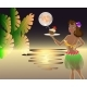 Sunset on the Sea with the Moon with the Waitress - GraphicRiver Item for Sale