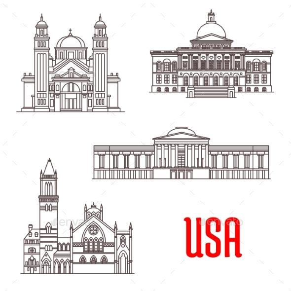 USA Architecture Landmarks Icons