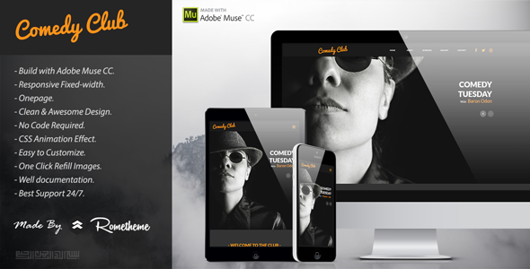 Comedy Club - Entertainment Muse Template