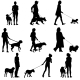 Sillhouette of People and Dog - GraphicRiver Item for Sale