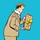 Retro Man Gives a Gift - GraphicRiver Item for Sale