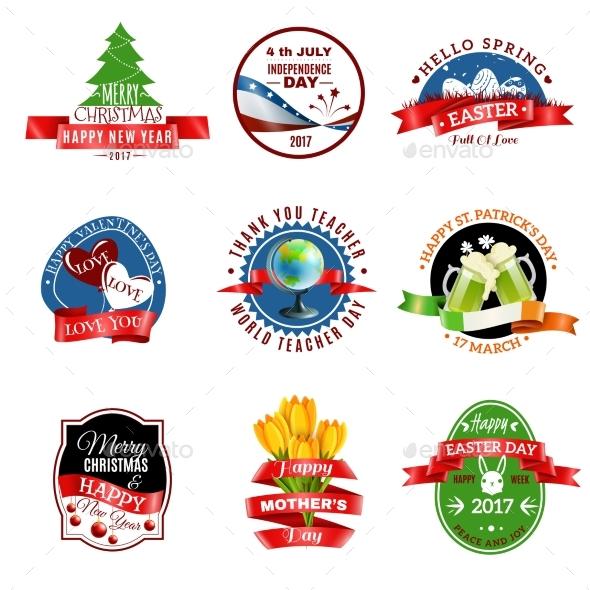 Greeting Cards Emblems Set