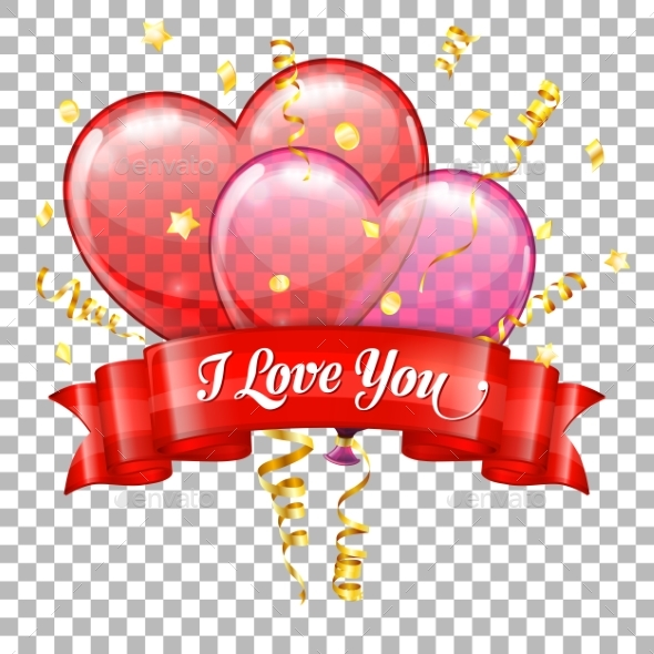Valentines Day with Hearts Balloons