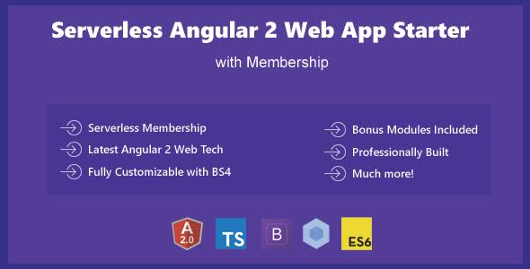 Serverless Angular 2 - Bootstrap 4 Web App Template Starter with Membership