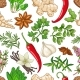 Vector Hot Pattern with Herbs on White - GraphicRiver Item for Sale