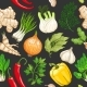 Vector Vegetable Pattern with Herbs on Dark - GraphicRiver Item for Sale