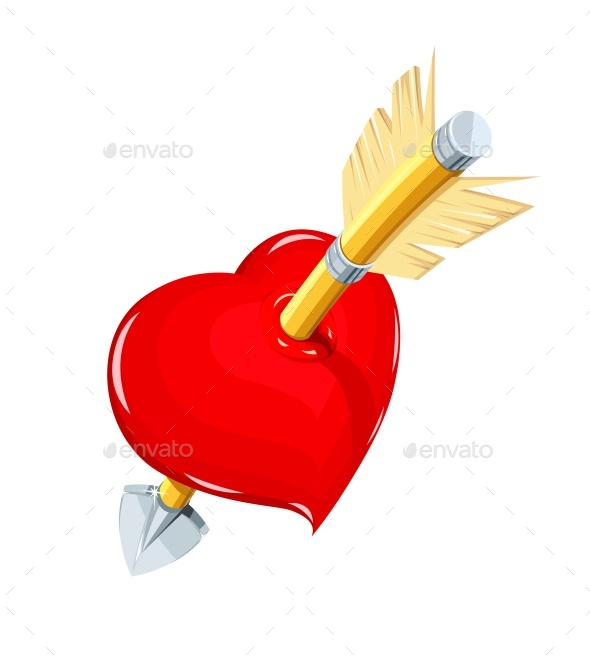 Heart And Arrow. Symbol Love For Saint Valentines