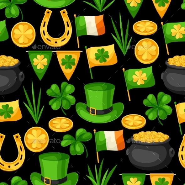 Saint Patricks Day Seamless Pattern. Flag Ireland