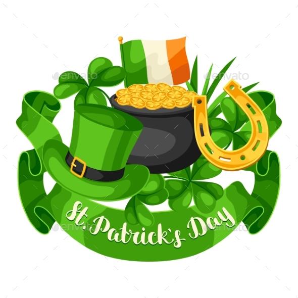 Saint Patricks Day Greeting Card. Flag Ireland