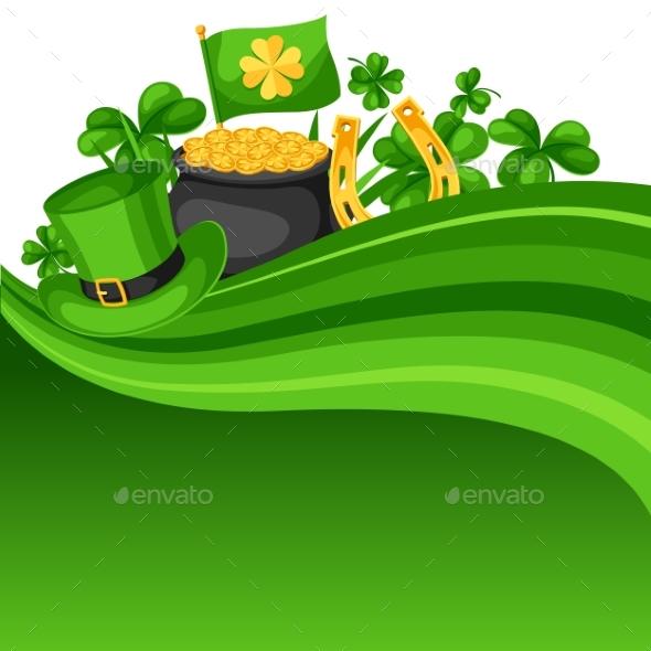 Saint Patricks Day Card. Flag, Pot of Gold Coins