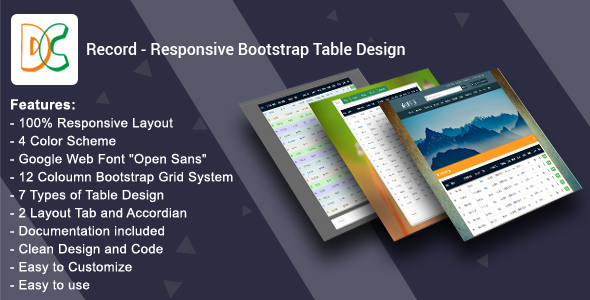 Record - Responsive Bootstrap Table Design