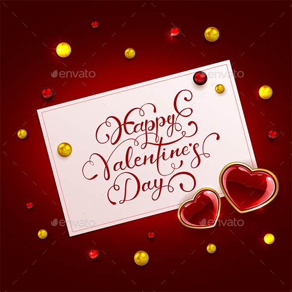 Valentines Card with Hearts and Beads