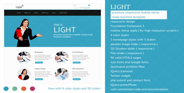 Light - Responsive Mobile Retina Ready Template