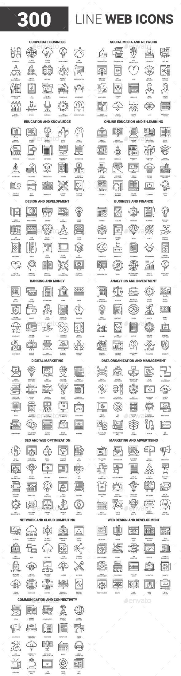 300 Line Web Icons Bundle