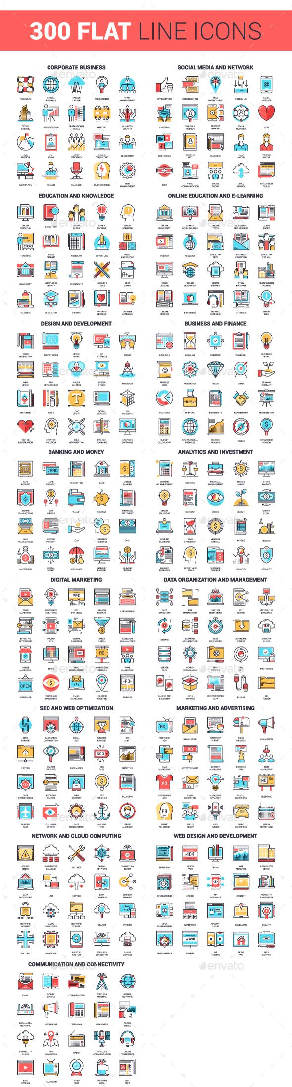 300 Flat Line Icons Bundle